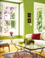 bright shades of green paint