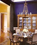 navy blue walls are popular in dining rooms