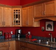 toned down red kitchen color scheme