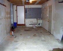 Unfinished garage floor