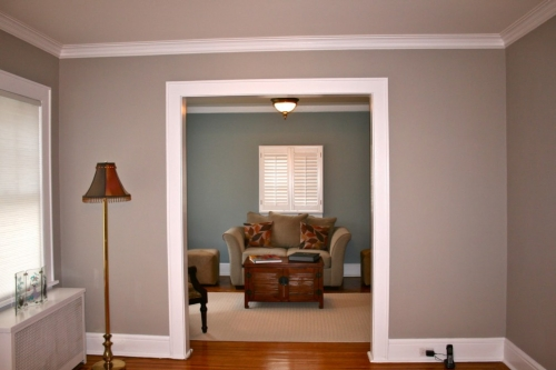 Taupe and green wall colors flow well when viewed together