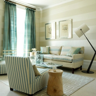 Wall stripes in light neutrals are easy on the eye