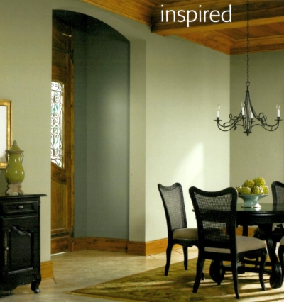 Green walls with natural wood trim