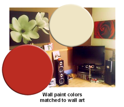 Cream and red wall paint colors for a living room