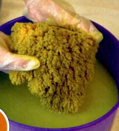Clean the sponge regularly during the process