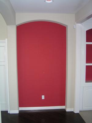 Red Accent Wall In the Foyer Niche