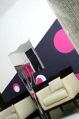 Circle designs on my slanted accent wall