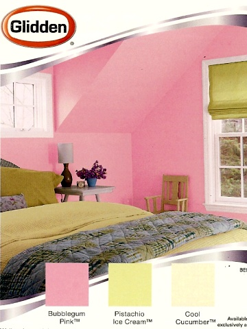 Pink and green color combination for a girl's room