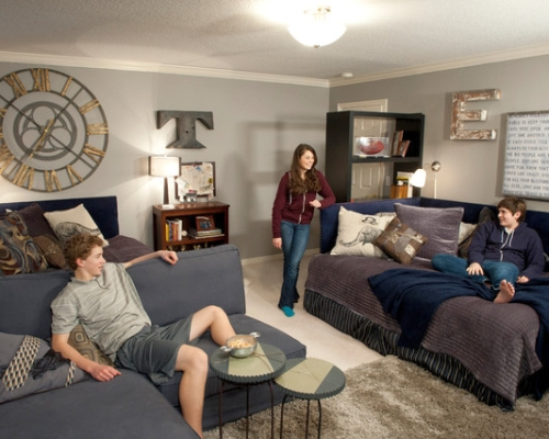 Family room with the walls painted a neutral gray color