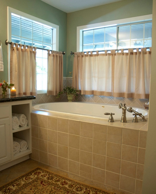 Bathroom with the walls painted a calming shade of green