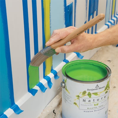 Use a brush for painting narrow stripes