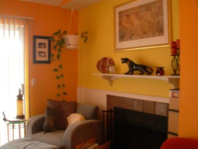 Hot orange and bright yellow walls