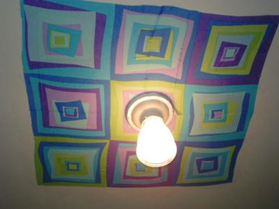 Temporary fabric decoration for the ceiling