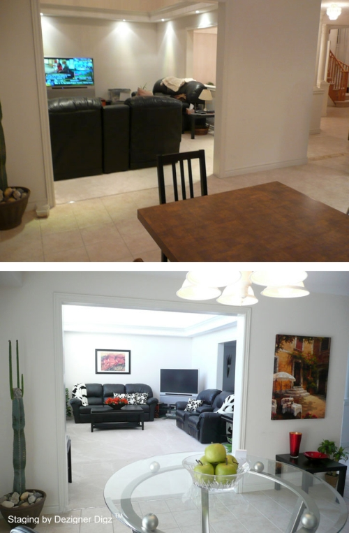 Before and after: open floor plan furniture rearranged for better feng shui