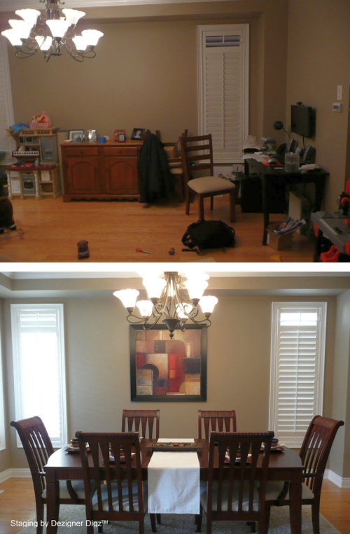 Before and after: dining room decluttered and staged
