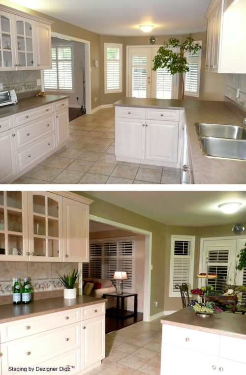 Before and after: kitchen and dining area decorated for an open house
