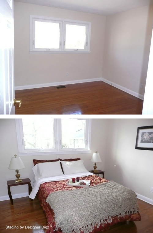Before and after: bedroom furnished as part of home staging