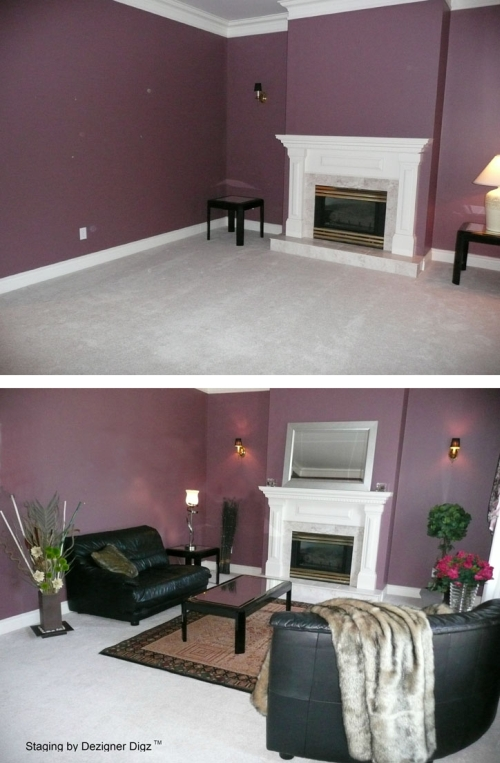 Before and after: purple living room furnished for a faster sale