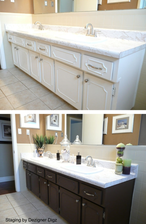 Before and after: bathroom tile and cabinets painted for an updated look