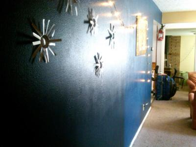 Our hallway painted a deep blue color