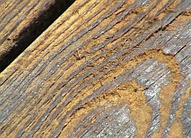 Wood damage by using improper powerwashing technique