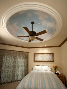 Trompe l'oeil clouds look best on dome and tray ceilings