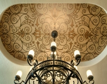 Stencil designs are a very popular look for ceilings
