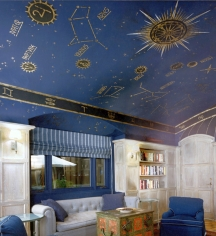 Ceiling murals can be realistic or cartoonish-looking