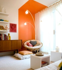 Color blocking is a great painting idea for a boring ceiling