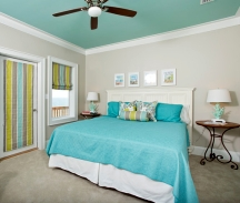 Ceilings can be painted any color as long as it relates to the decor