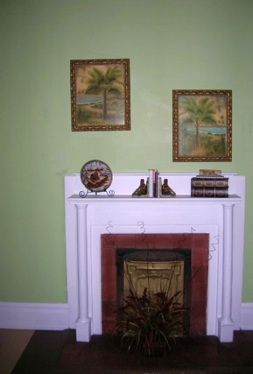 Spring green paint color on the wall is offset by white trim