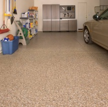 Professionally applied epoxy garage floor covering
