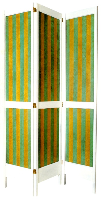 Emerald green and mustard rag painted stripe combination
