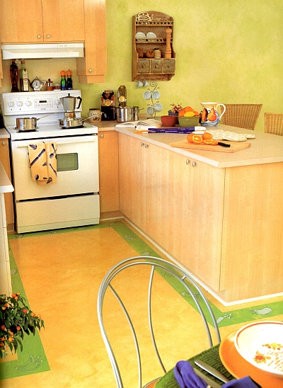 Kitchen floor with a ragged off yellow paint finish