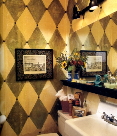 Harlequin style faux wall