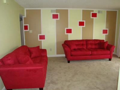 Funky color blocking pattern on my accent wall