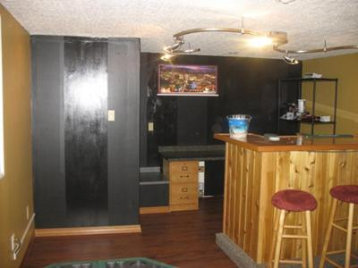Wide black paint stripes in the basement