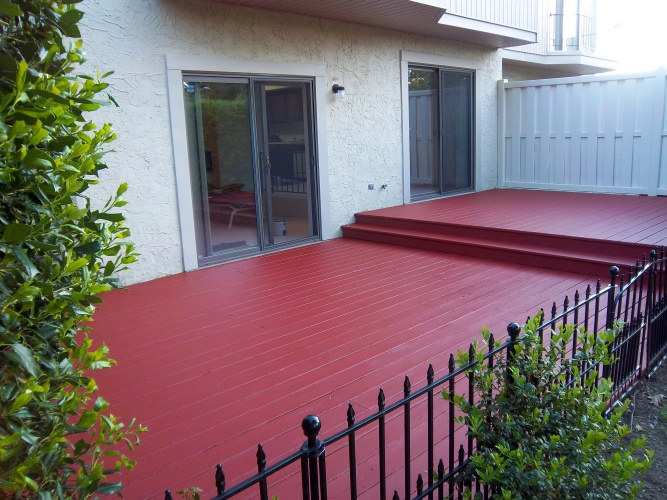 After: bold red color on deck floor