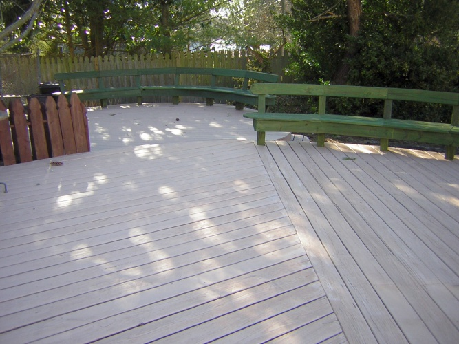 After: solid and semi-transparent stains on deck