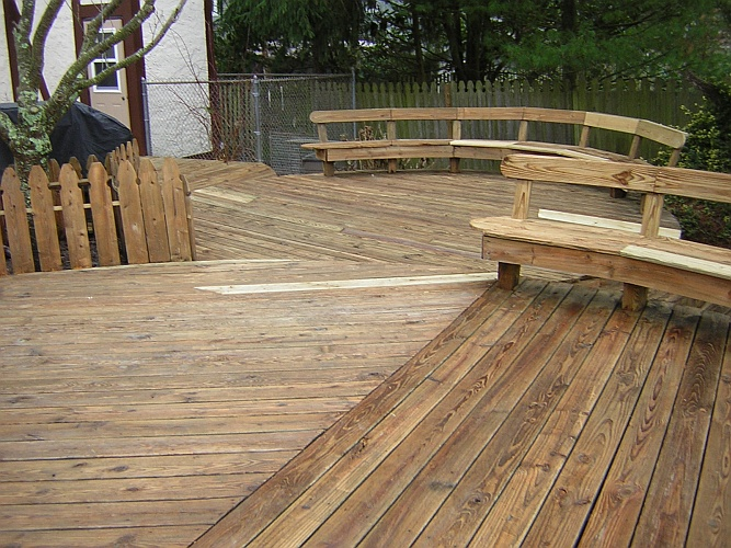 Before: unstained patio deck