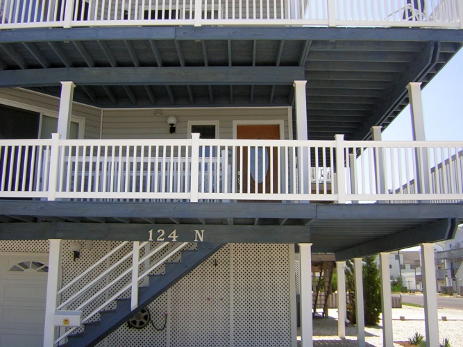 After: decks stained blue