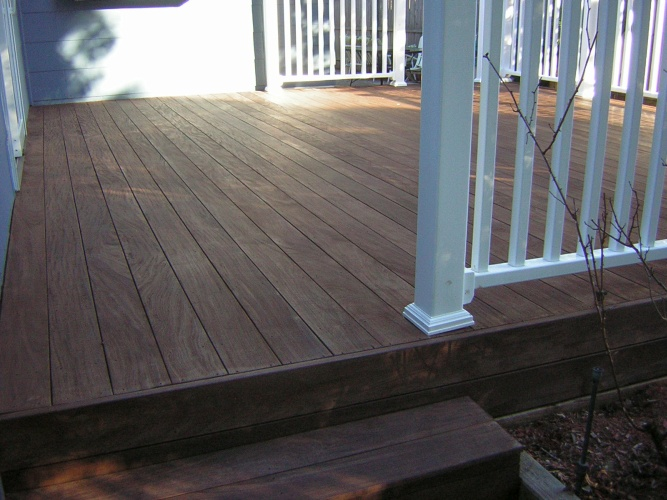 After: stained deck floor