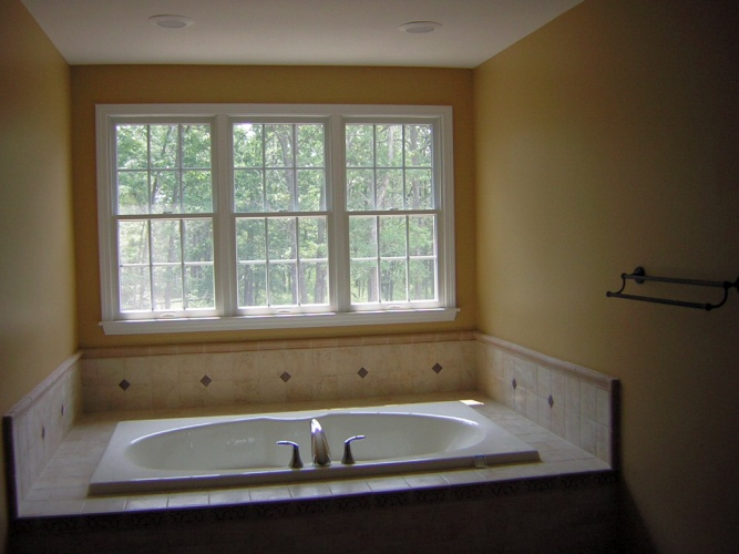 After: paint color makes bathroom look warm