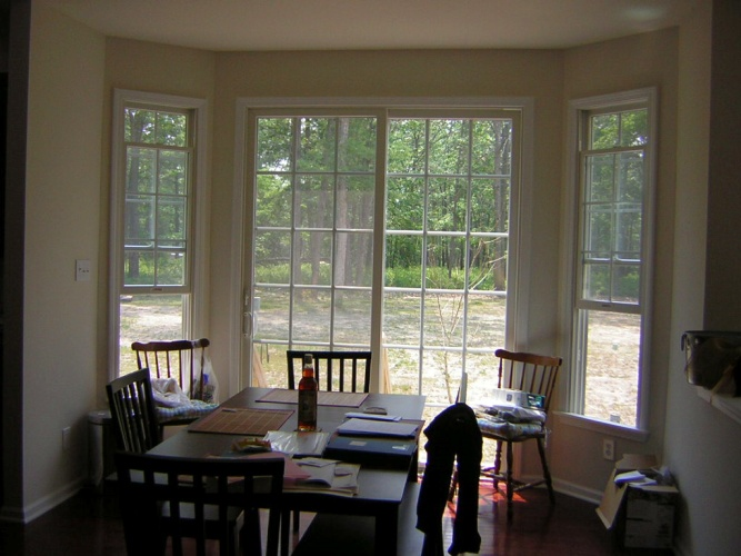 Before: white walls in dining room