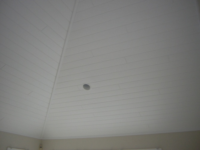 After: painted panel ceiling looks modern