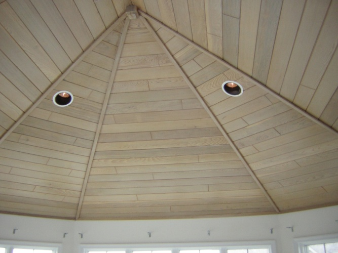 Before: wood panel ceiling