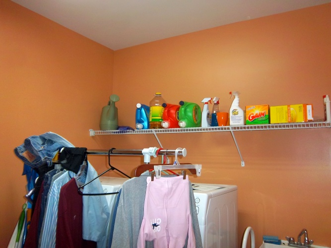 After: fun orange color on walls