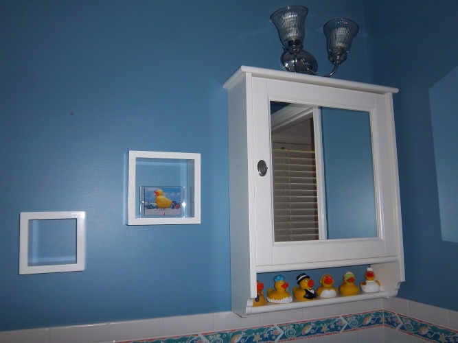 After: rich blue wall color