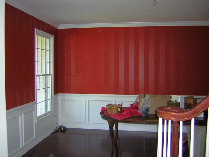 After: tone-on-tone painted stripes look sophisticated