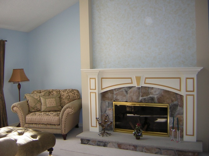 After: sponging and metallic paints make fireplace a focal point